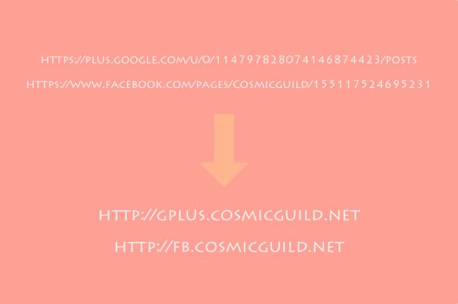 Facebookページやgoogle+ページのURLをサブドメインを利用して短縮してみる